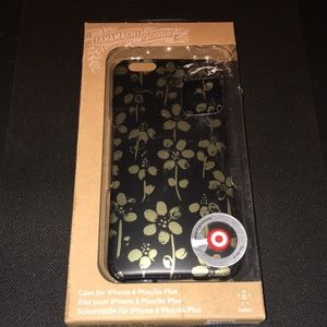 iPhone 6 Plus Black and Gold Flower Case